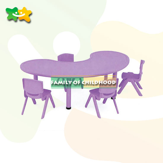 Plastic tables moon shape tables for kindergarten