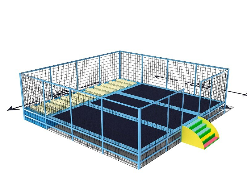 Trampoline bed ,professional trampoline park with stair