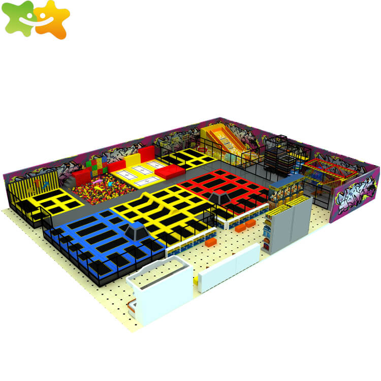 Professional commercial children adults jumping bungee kids big indoor trampoline park
