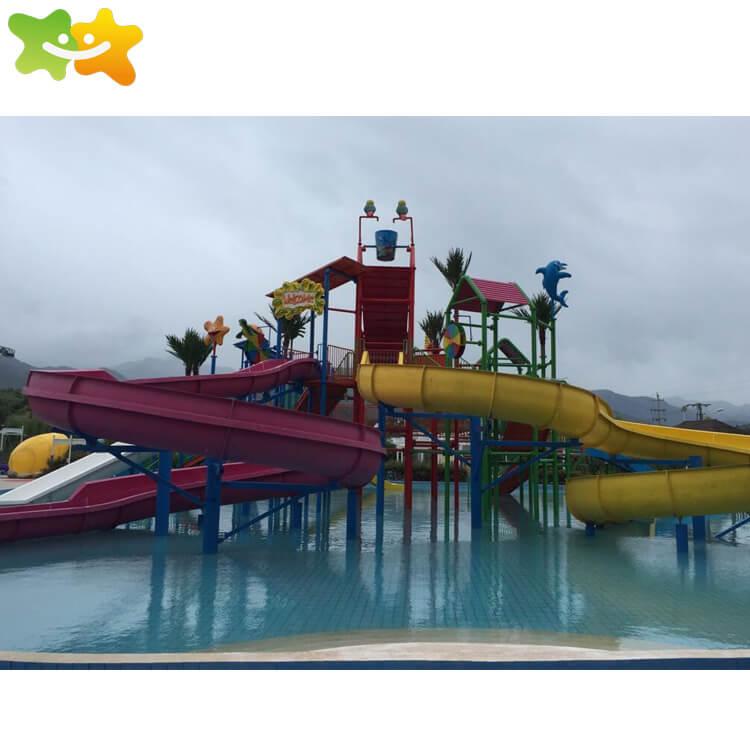 Durable large fiberglass water park spiral water slide equipment for sale